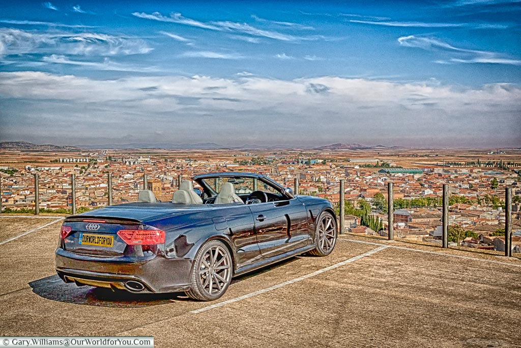 The Audi RS5 gazing across the plains of La Mancha, Spain.