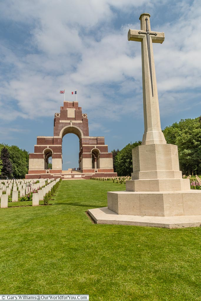 The Cross of Sacrifice in front of the Thiepval Memorial, Thiepval, France