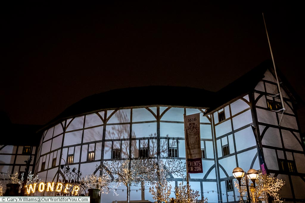 The Globe theatre, London at Christmas, UK