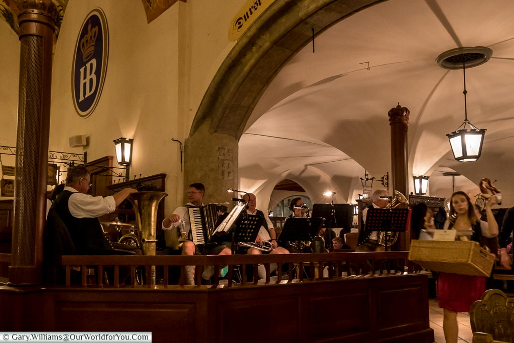 The band on the Hofbrauhaus, Munich, Germany