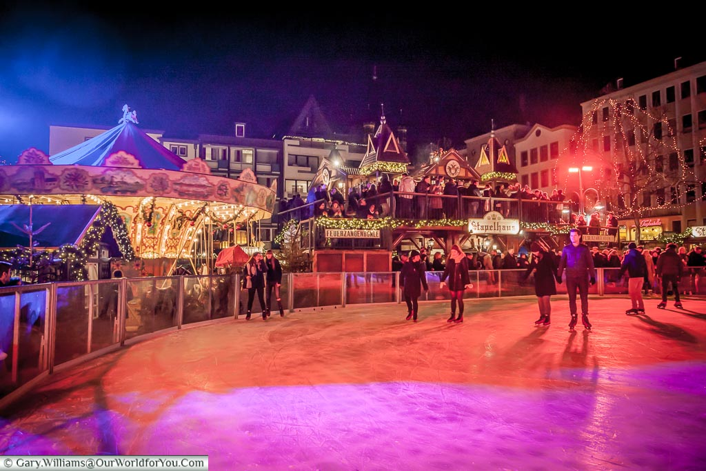The ice rink at the Christmas Markets, Cologne, Germany