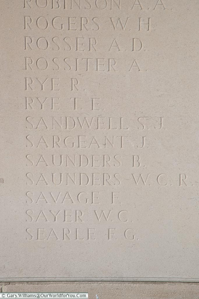 The memorial to Bert Saunders, Loos Memorial, France