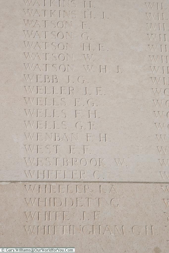 The memorial to Isaac Alfred Wheeler, Loos Memorial, France