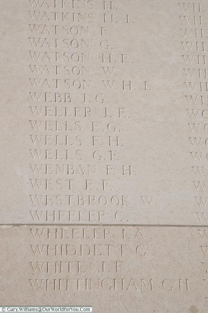 The memorial to Isaac Alfred Wheeler, Loos Memorial, France