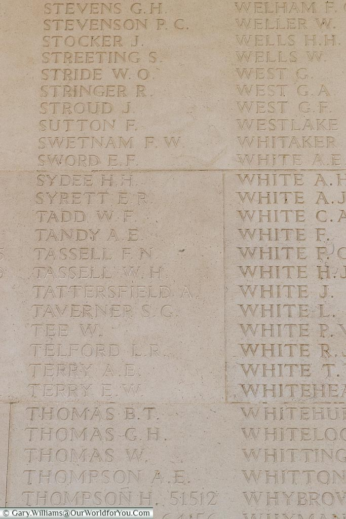 The memorial to William Herbert Tassell at the Arras Memorial, France
