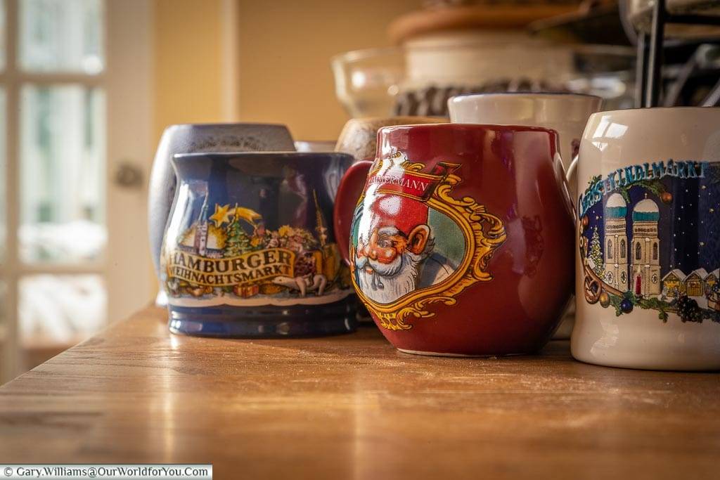 A selection of German Christmas mugs from the markets
