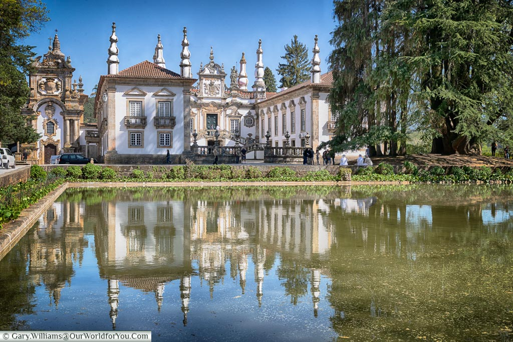 Reflections in front of Casa de Mateus, Portugal