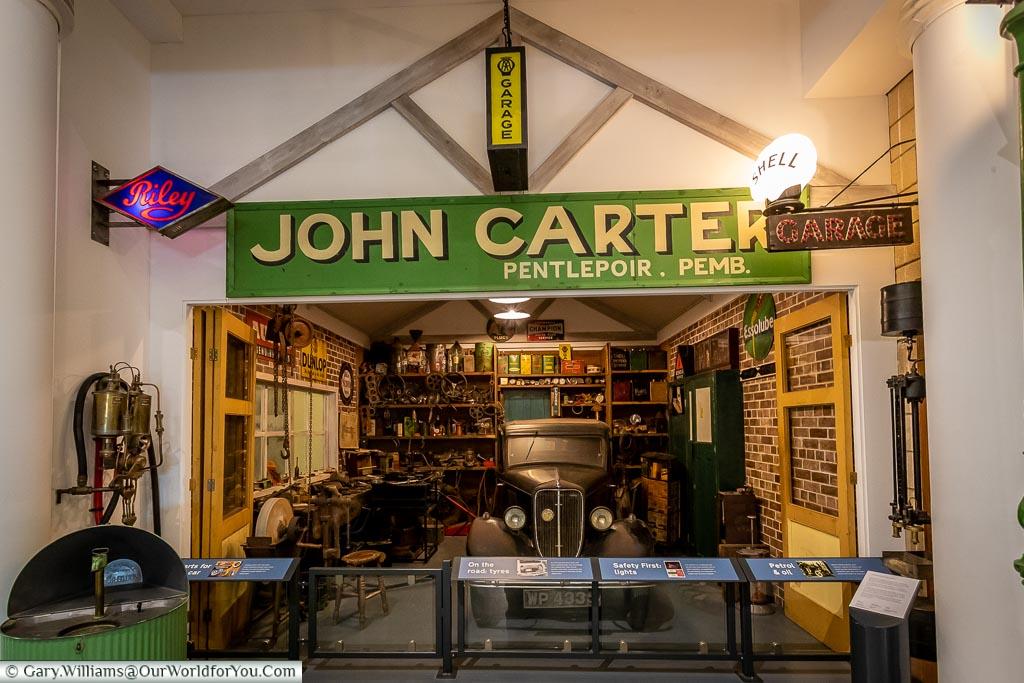 The John Carter Garage, British Motor Museum, Warwickshire, England, UK