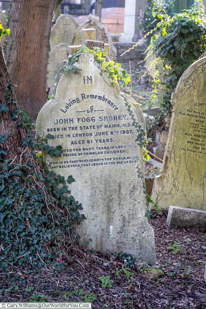 The headstone to John Fogg Shore, West Norwood Cemetery, London