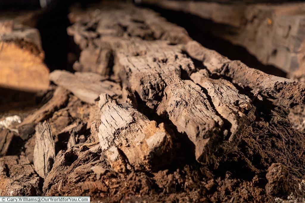 Close-up timbers of the Namur, Historic Chatham Dockyard, Kent, England, UK