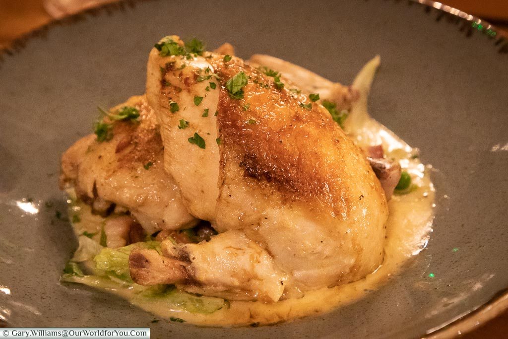 Herb roasted chicken, The Dozen Restaurant at the White Horse, bespoke hotels, Dorking, Surrey, England, UK
