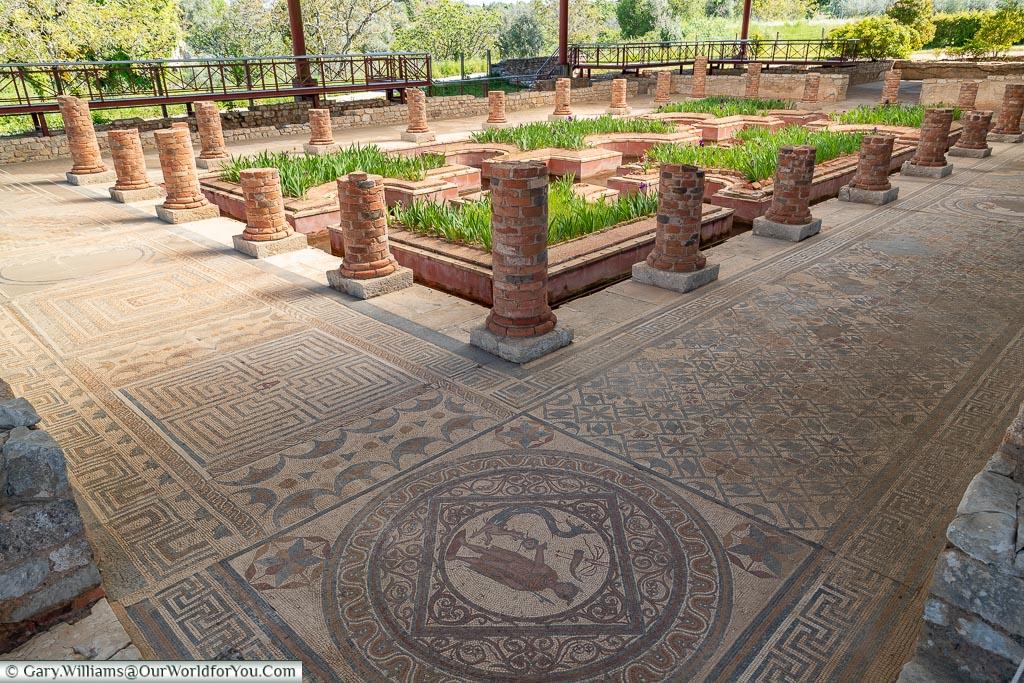 Mosaic around the water garden, Conímbriga, Portugal