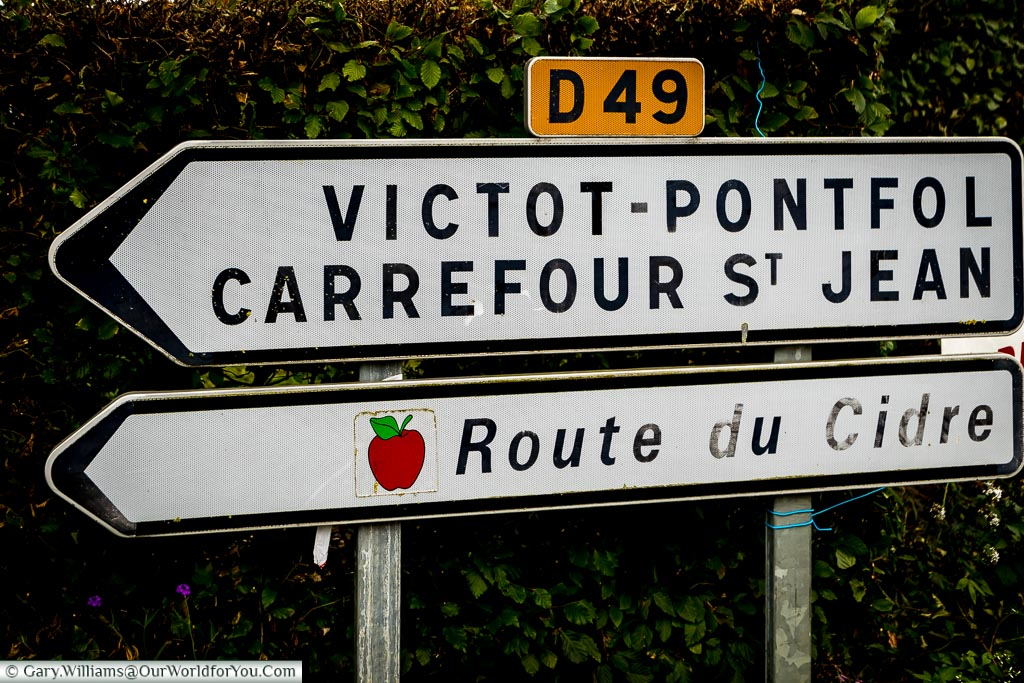 Signs for the Route du Cidre, Normandy, France