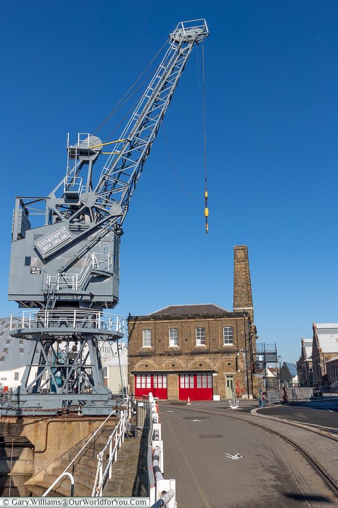 The Fire Station & Crane, Historic Chatham Dockyard, Kent, England, UK