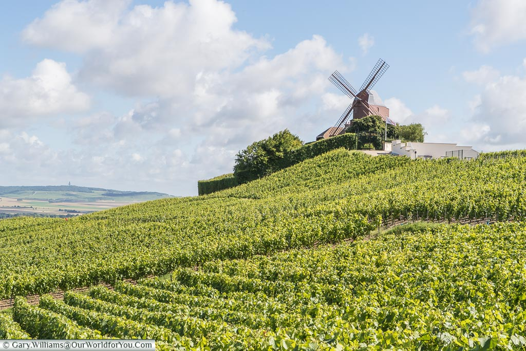 The G.H. Mumm Windmill on the hill in Verzenay, France