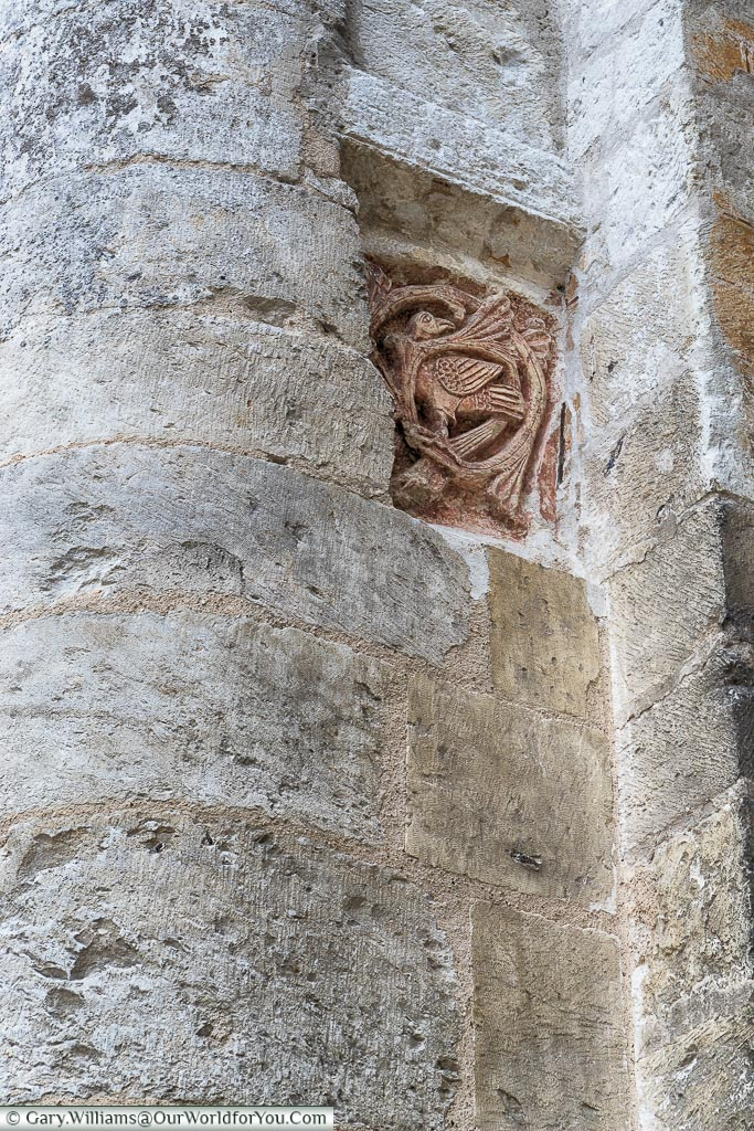 The Romanesque ochre bird, Jumieges Abbey, Normandy, France