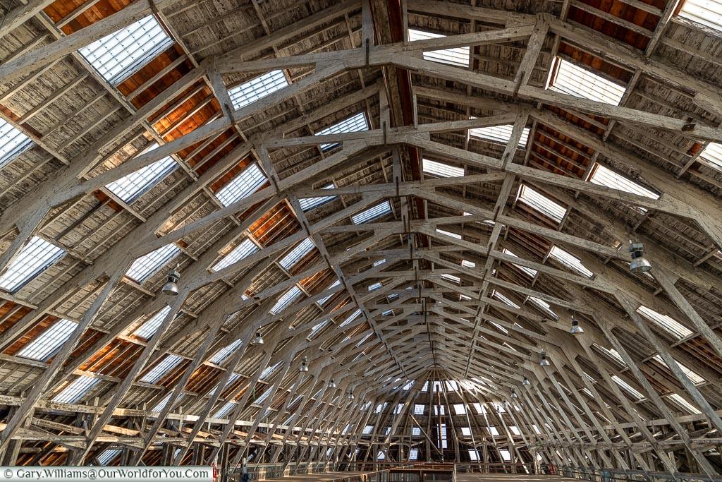 The roof of 3 slip, Historic Chatham Dockyard, Kent, England, UK
