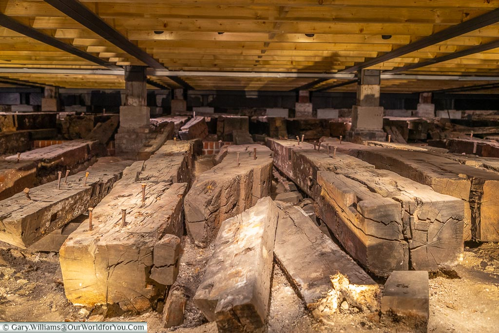 The timbers of the Namur - laid out, Historic Chatham Dockyard, Kent, England, UK