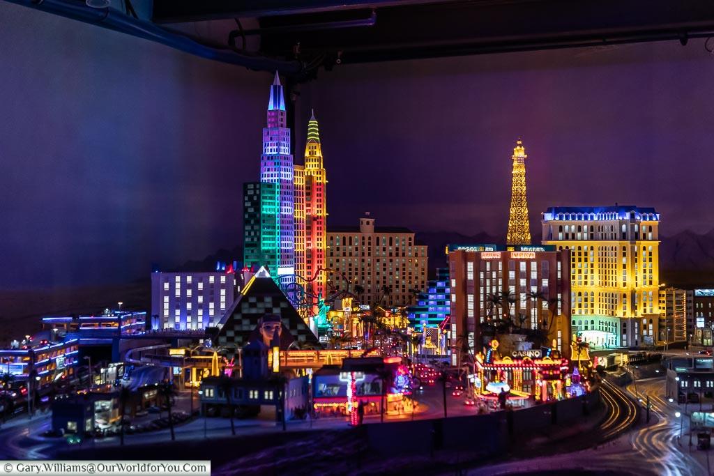 Las Vegas at night in the Model World, Hamburg German Christmas Markets, Germany