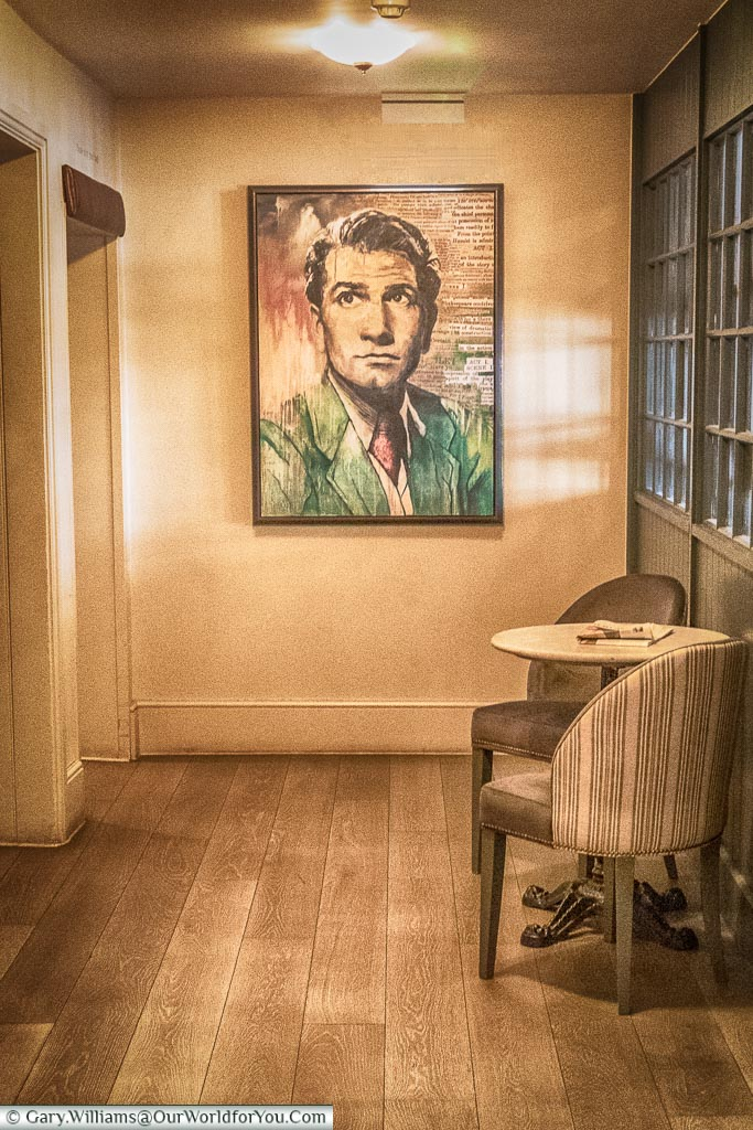 Laurence Olivier portrait at the White Horse Hotel, Dorking, Surrey, England, UK