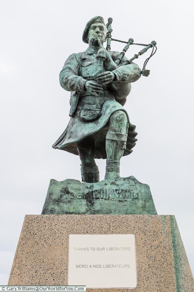 Statue to Piper Bill Millin - Thanks to our liberators Sword Beach, Normandy, France