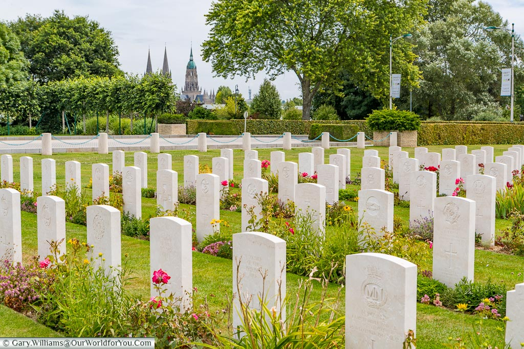 The Bayeux cemetry with the Cathedral in the background, Normandy, France