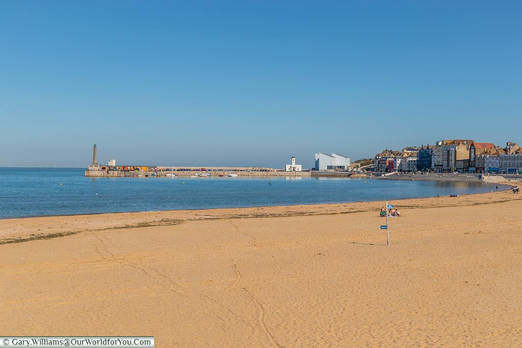 The beach and the harbour, Margate, Kent, England, UK