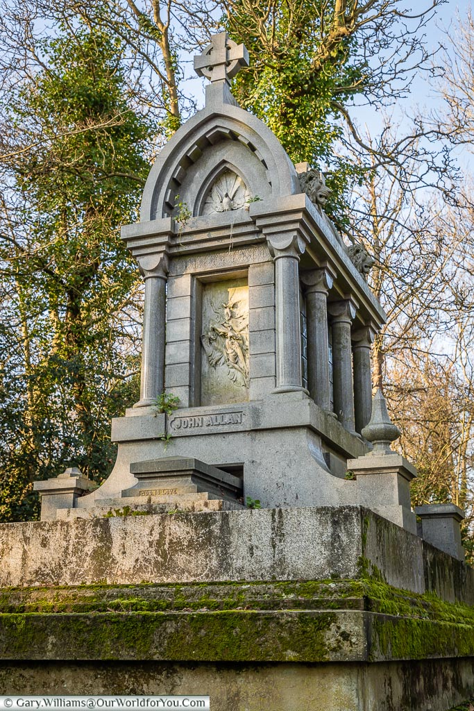 The tomb of John Allan, Nunhead Cemetery, London, England, UK