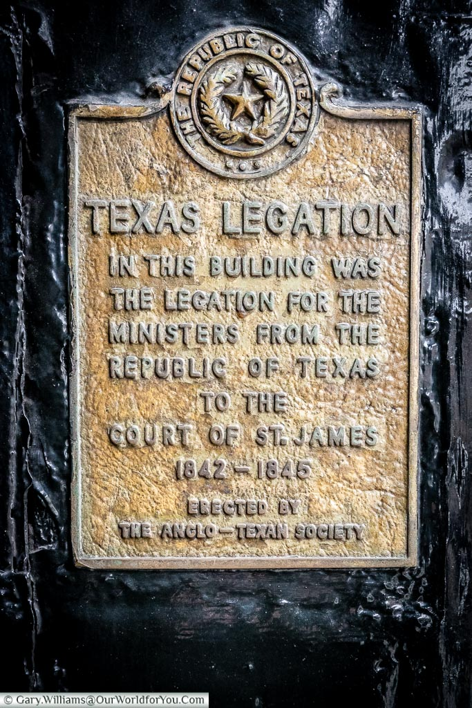 The Texas Legation plaque, St James's, City of Westminster, London, England, UK