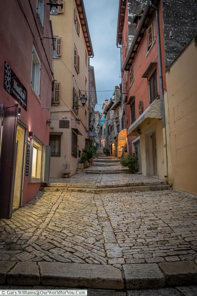 A climb through the old town of Rovinj, Croatia
