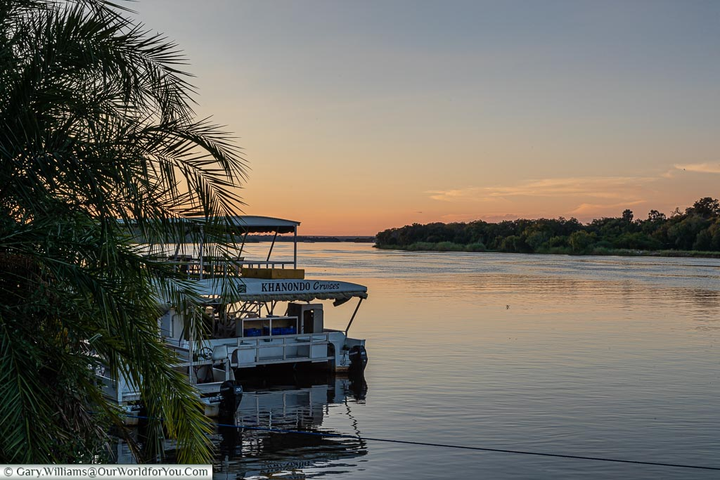 Sunset over the Zambezi at the A'Zambezi River Lodge, Victoria Falls Town, Zimbabwe