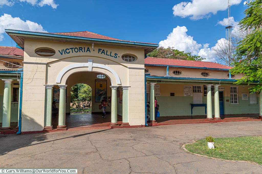 The exit from Victoria Falls railway station, Victoria Falls Town, Zimbabwe
