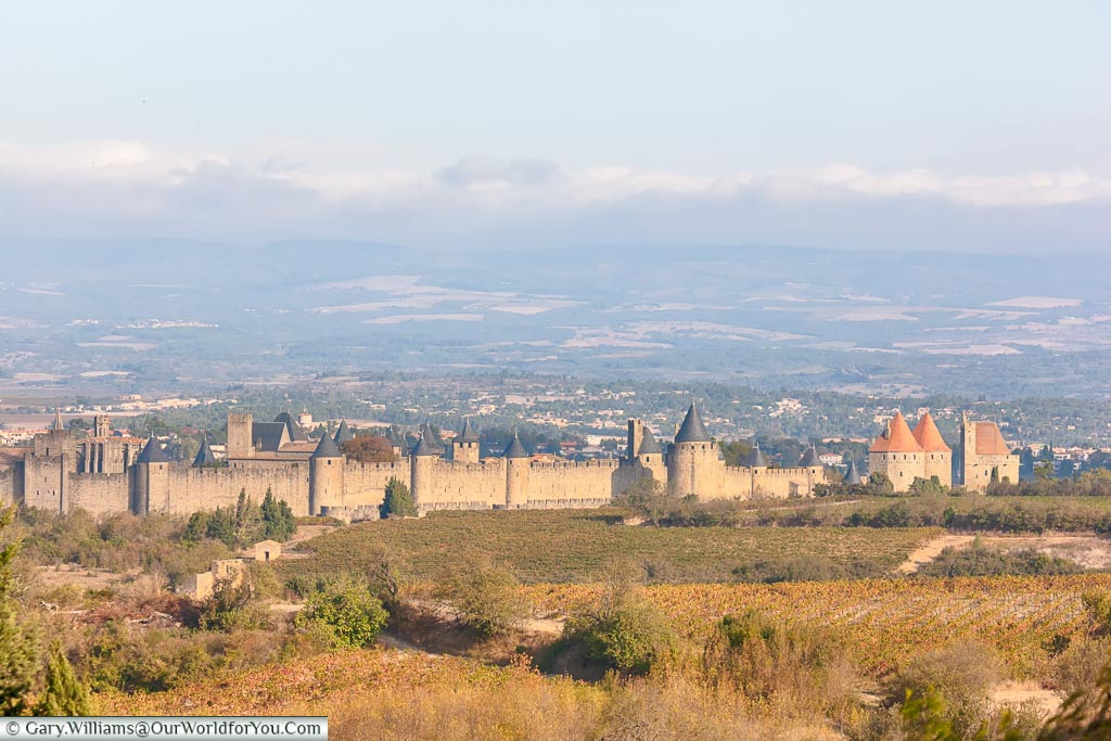 The historic walled city of Carcassonne, France