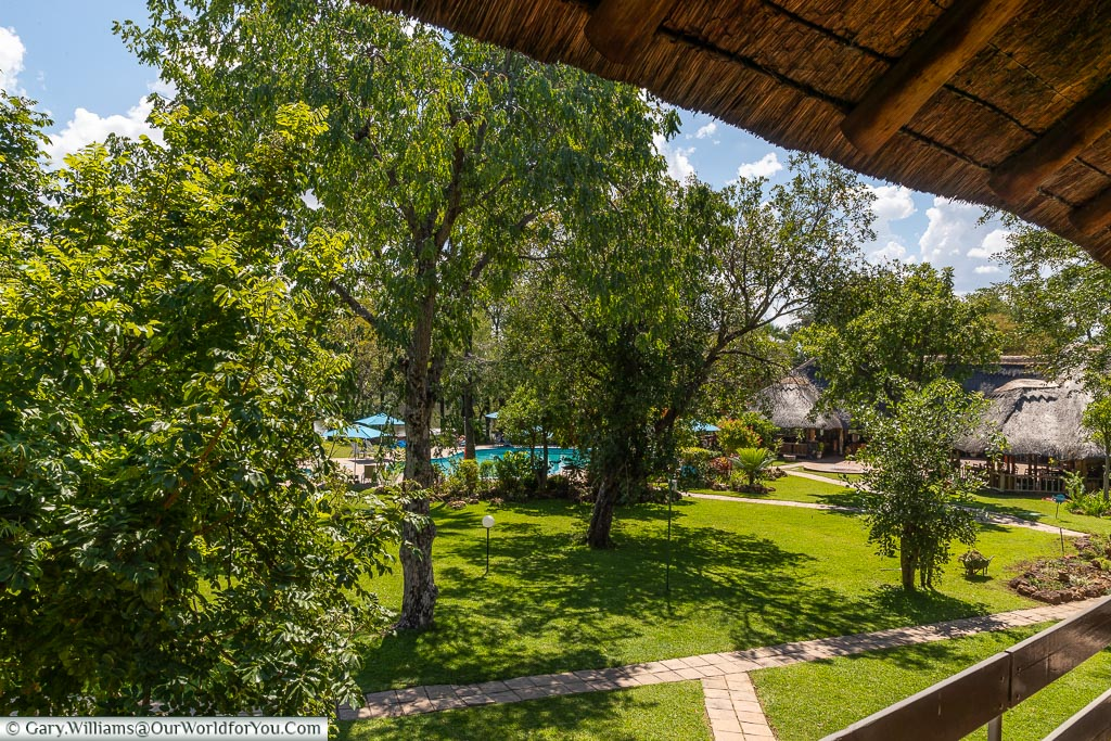 The view from our room at the A'Zambezi River Lodge, Victoria Falls Town, Zimbabwe