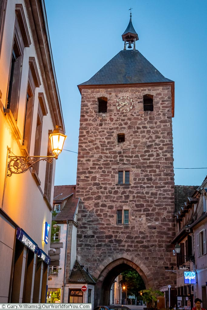 The historical tower, Porte des Forgerons,  at dusk.