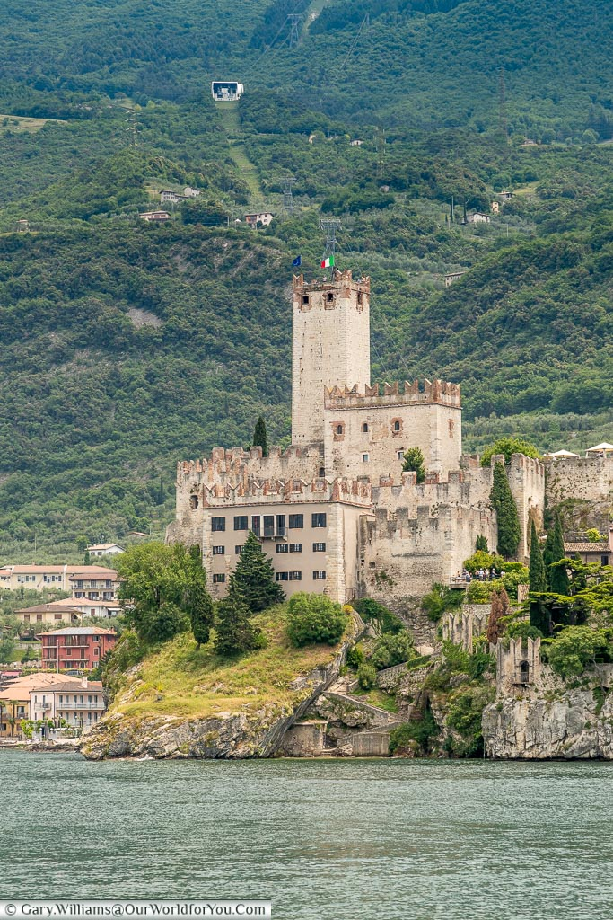 A view of Castello Scaligero taken from the lake as we approach on the ferry.