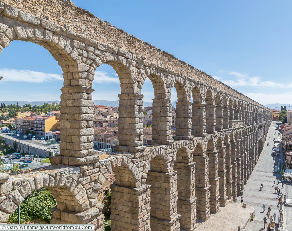 A view of the main section of the Roman aqueduct of Segovia.