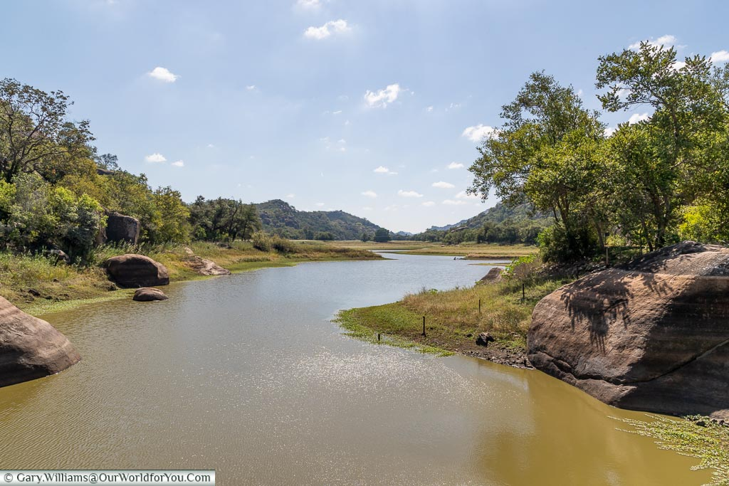 A river on one side of a dammed river in Matobo National Park.