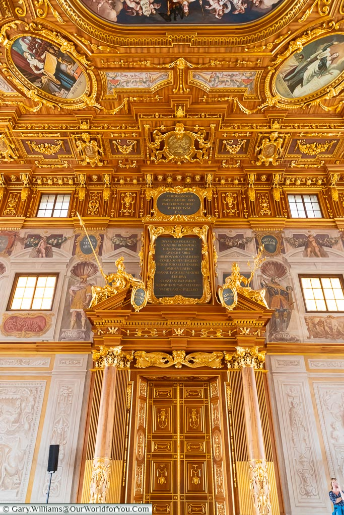 A vast decorated door & ceiling of the Golden Hall of the Rathaus.