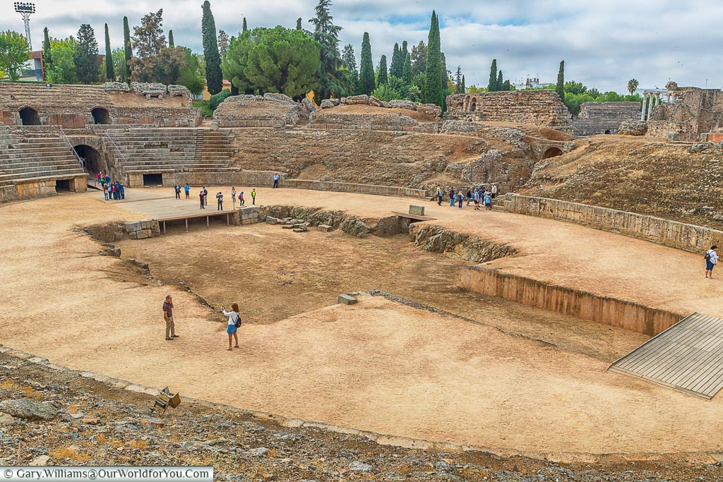 A view of the base of the small coliseum at Mérida.