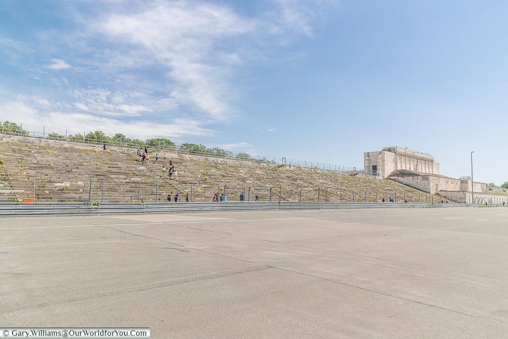 A view of the tiered steps at the top end of the stadium with the remains of the centre section remaining.