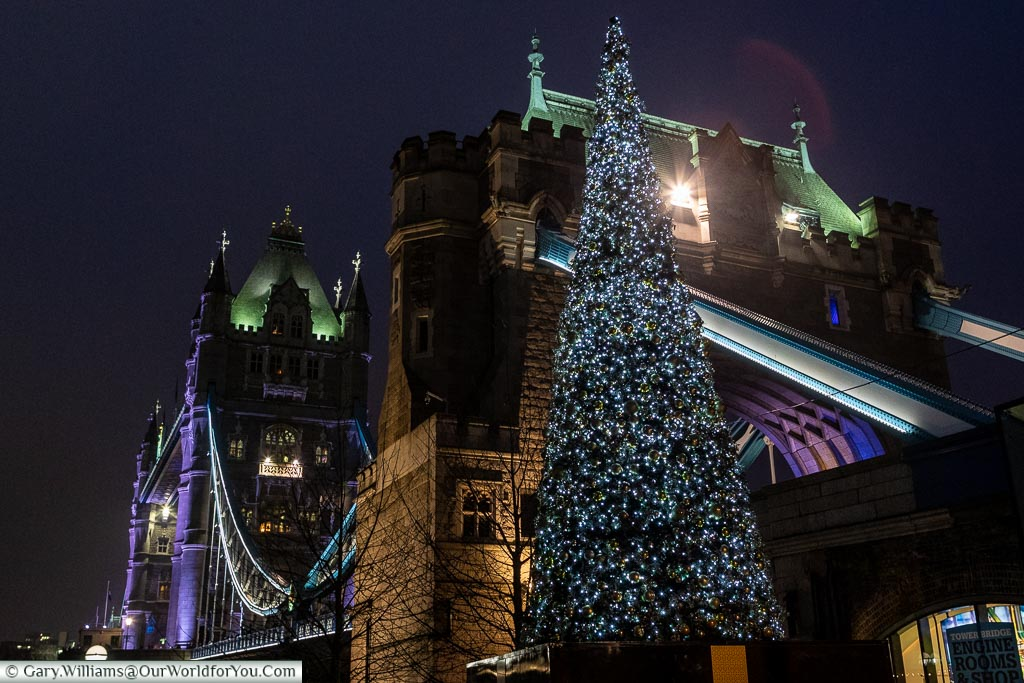 A Christmas tree in front of an illuminated  Tower Bridge.