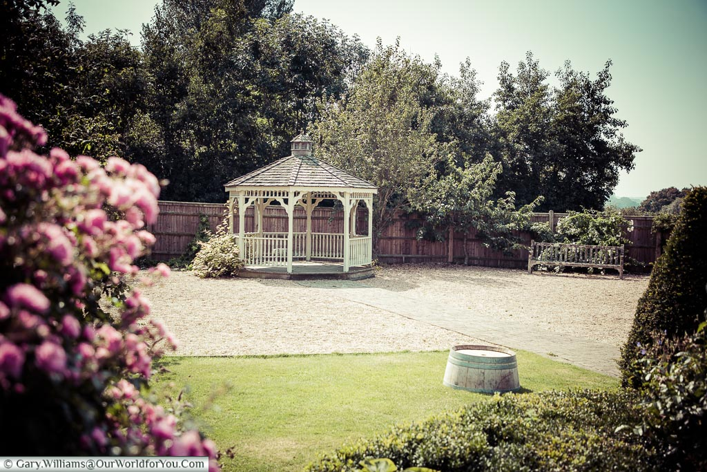 A view of the vintage canopy within Chapel Down's Herb garden that can also be hired as a wedding venue.