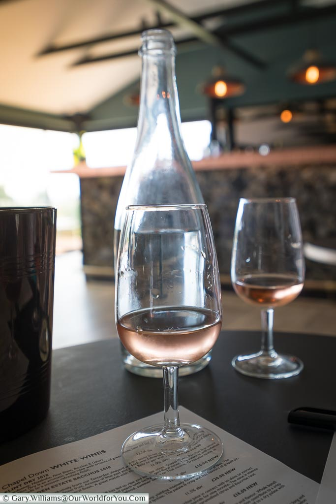 Two glasses of the rosé wine to be tasted.