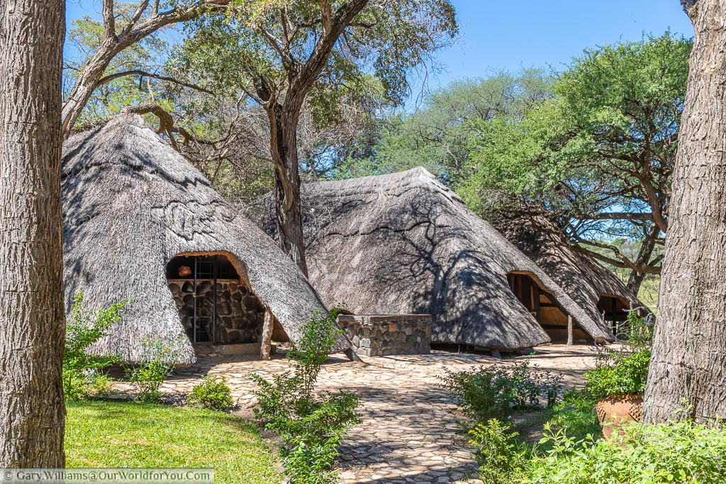 The thatched buildings of the reception, dining area and lounge.