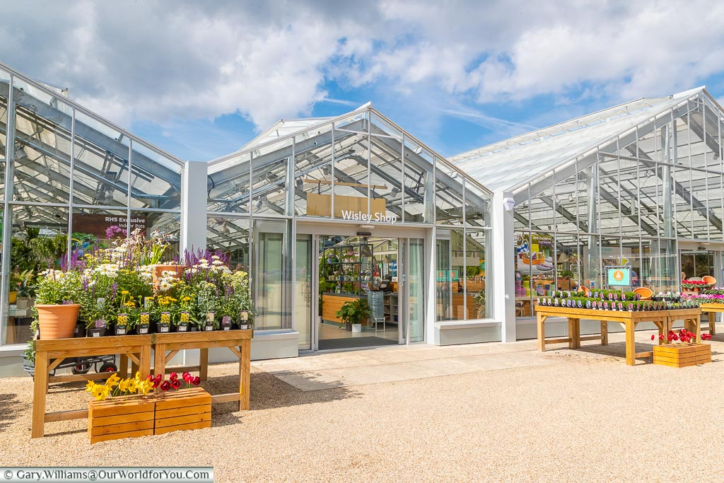 The glass front of the Wisley shop