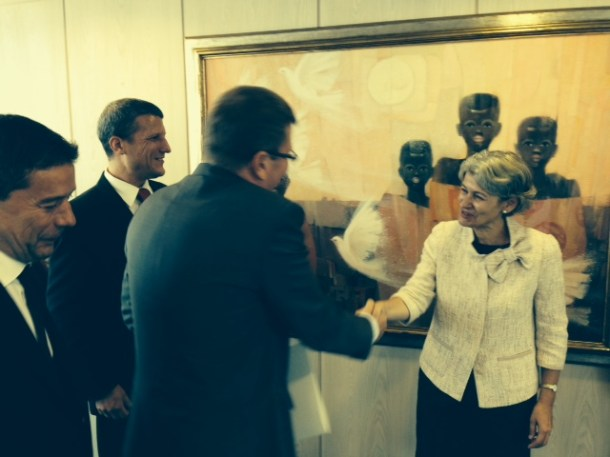 Signature of the contract by JSI Director, Professor Jadran Lenarčič and UNESCO Director-General, Ms Irina Bokova with Mitja Jermol new UNESCO Chair. — at UNESCO HQ In Paris.