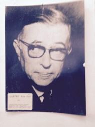 Portrait of Jean-Paul Sartre in classroom — in Sarajevo, Bosnia and Herzegovina.