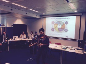 Andreia Inamorato Dos Santos presenting the findings of the Changing Pedagogical Landscapes study,
