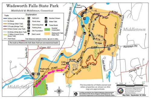 Wadsworth Falls Connecticut Trail Map